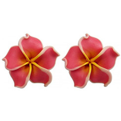 Fimo Flower Pierced Small Earrings Plumeria Curly Coral