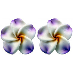 Fimo Flower Pierced Small Earrings Plumeria White With Lilac & Yellow