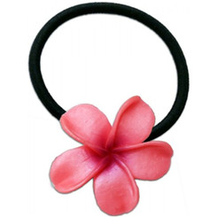 Large Fimo Elastic Ponytail Hair Flower Plumeria Pink