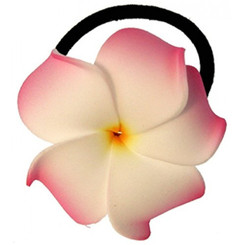 Foam Ponytail Hair Flower Plumeria Pink & White