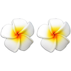 Mini Foam Flower Pierced Earrings Plumeria White & Yellow