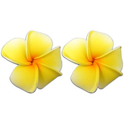 Mini Foam Flower Pierced Earrings Plumeria Yellow