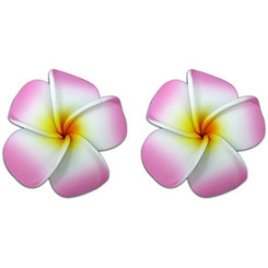 Mini Foam Flower Pierced Earrings Plumeria Pink & White