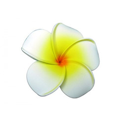 Plumeria Foam Flower Small Hair Clip White & Yellow
