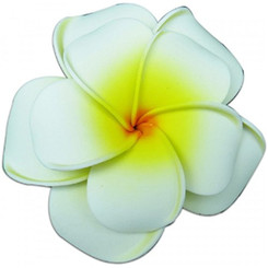 Plumeria Foam Double Flower Large Hair Clip White & Yellow