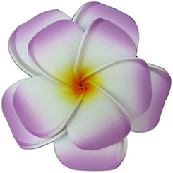 Plumeria Foam Double Flower Large Hair Clip Lilac & White