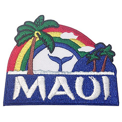 Hawaii Maui Palm Tree Rainbow Whale Iron-On Embroidery Applique Patch