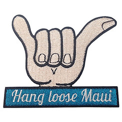 Hawaii Maui Iron-On Embroidery Applique Patch Hang Loose