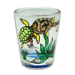 Hawaiian Hand Painted Shot Glass Honu Turtle Star Fish