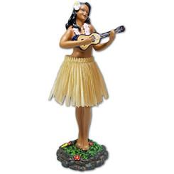 "Leilani Dashboard Doll Playing Ukulele Natural 7"""
