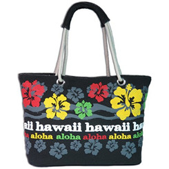 Island Impressions Beach Tote Bag Rasta Hibiscus Red, Yellow