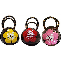 Real Coconut Shell Handbag or Coin Purse With Painted Flower
