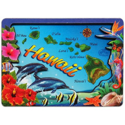 "Hawaiian Isles Map Magnet 2.2"" X 3"""