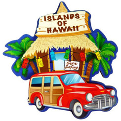 "Hawaii Hut & Woody Magnet 2.5"" X 2.9"""