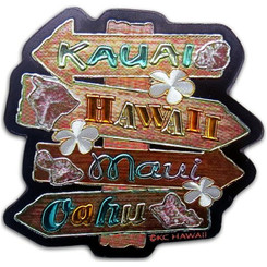 "Hawaii Sign Foil Magnet 2"" X 2"""