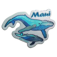 "Hawaii Maui Whales Foil Magnet 1.375"" X 2"""