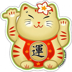 Hawaiian Decal Plumeria Lucky Cat