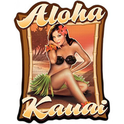 Hawaiian Decal Aloha Kauai Hula Girl