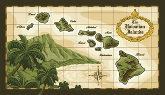 Hawaiian Deluxe Size Beach Towel Island Chain