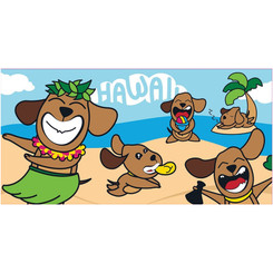 "Hawaii Style Beach Towel Poi Dogs in Paradise 30"" x 60"""