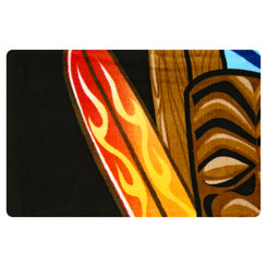 Hawaiian Beach Towel Big Kahuna Tiki and Surfboard Design