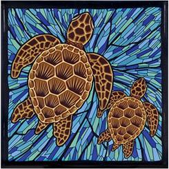 Hawaii Ceramic Tile Trivet Blue Honu Turtle