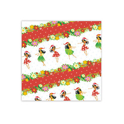 Holiday Hula Honeys Hawaiian Christmas Red Gift Wrap Paper 2 Rolls