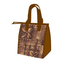 Small Non-Woven Lunch Bags Brown Tapa with Dotted Imprints