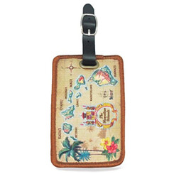 Deluxe Embroidered Luggage Tags Islands Of Hawaii Tan