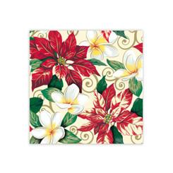 Festive Plumeria & Poinsettia Design Hawaiian Gift Wrap Paper 2 Rolls