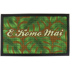 "E Komo Mai Tropical Door Mat 30"" X 17.75"""