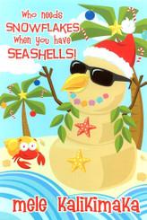 Seashell Sandman Hawaiian Snowman Christmas Cards / 10