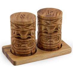 "Acacia Wood 2"" x 3"" Tiki Salt & Pepper Shakers"