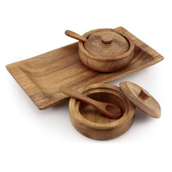 "Acacia Wood 5"" x 10"" Condiment Set"