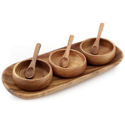 Acacia Wood 3 Container Round Condiment with Tray