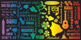 Hawaiian Beach Towel Rainbow Icons Design
