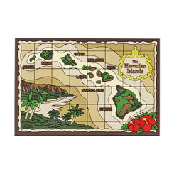 "Hawaii Magnet Rubber Island Chain Map 3""W x 2""H x ""D"