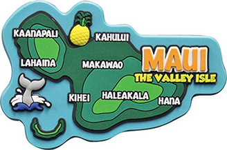 "Hawaii Rubber Magnet Maui Map 3""W x 2""H x ""D"