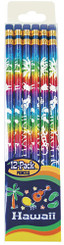 Hawaii 12 Pack Rainbow Foil With White Print Pencils