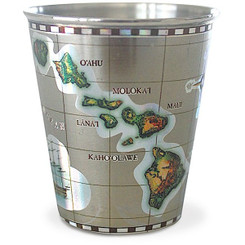 Stainless Steel Shot Glass Islands of Hawaii Map
