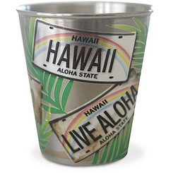 Hawaii Stainless Steel Shot Glass License Plate Palms