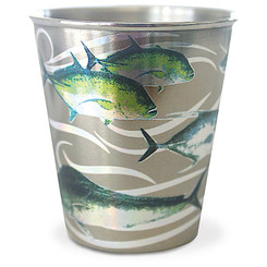 Hawaii Stainless Steel Shot Glass Gyotaku Fish