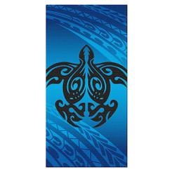 Hawaii Beach Towel Tribal Honu Turtle Blue