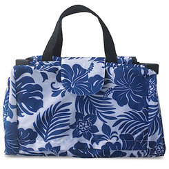 Hawaiian Shopping Cart Tote Hibiscus Floral Blue