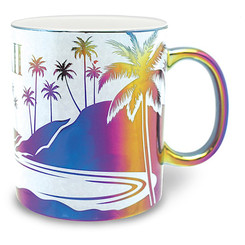 2 Pack Hawaiian Coffee Mugs 14 oz. Electroplated Island Rainbow