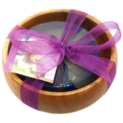 Forever Florals Gardenia Scented Glycerin Soap In Acacia Wood Bowl