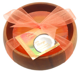 Forever Florals Coconut Mango Scented Glycerin Soap In Acacia Wood Bowl