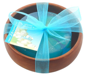 Forever Florals Pikake Scented Glycerin Soap In Acacia Wood Bowl