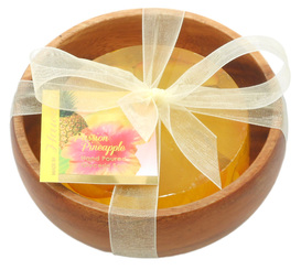 Forever Florals Passion Pineapple Scented Glycerin Soap In Acacia Wood Bowl