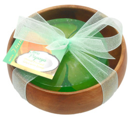 Forever Florals Coconut Papaya Scented Glycerin Soap In Acacia Wood Bowl